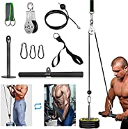 Fitness Pulley Cable System with Triceps Handle Bar and Pulldown Straps for DIY Home Gyms Garage Arm Forearm W