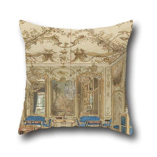 The Oil Painting Eduard Gaertner - Concert Room Of Sanssouci Palace, Potsdam, Germany Throw Pillow Covers Of ,16 X 16 Inches / 40 By 40 Cm Decoration,gift For Deck Chair,family,wedding,bf,kids Boys,f