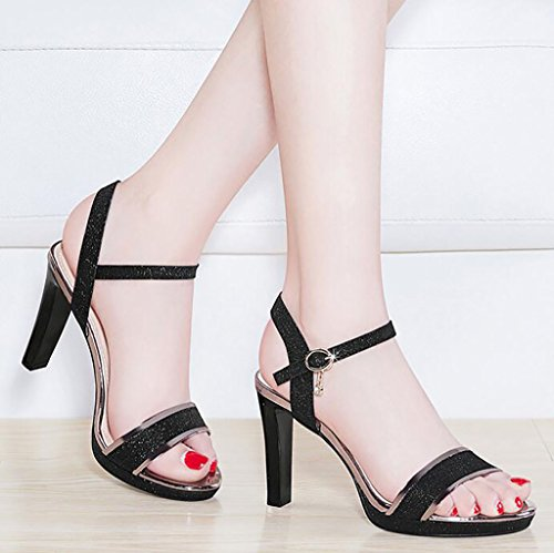 Peep Fashion A Strappy Block sandals Ladies Color Sandals Mid Strap Low Ankle Party Heel Size Sandals Toe Flat A 39 Womens wTAI6qx