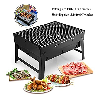 MorisMos Portable Barbecue Grill,Charcoal Small Folding BBQ Grill,Grill mats,Grill Baskets,BBQ Grill Net Clip,Tools for Outdoor Camping Garden Cooking from Mishion