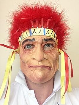 JEFE INDIO CRAZY HORSE Máscara De Látex Vaqueros y Indios Fiesta De Disfraces: Amazon.es: Juguetes y juegos