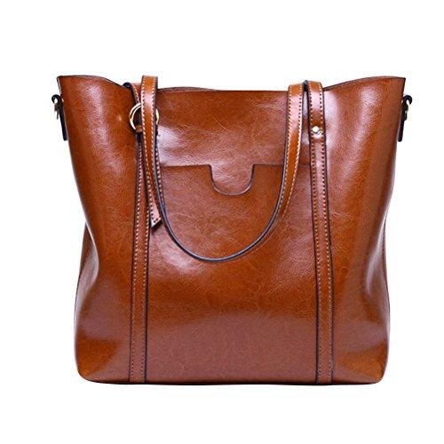 Fmeida Damen Handtasche Große Schultertaschen Umhängetasche Leder Tasche(Braun)