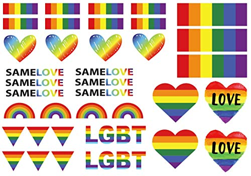 (Gay Pride LGBT Rainbow Temporary Tattoos By ASVP Shop)
