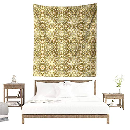 Wall Decor Tapestry,Golden,Vintage 20s Gatsby Party Inspired Geometrical Image with Floral Details Print,White and Gold W32 x L32 inch Print for Living Room Bedroom Dorm -