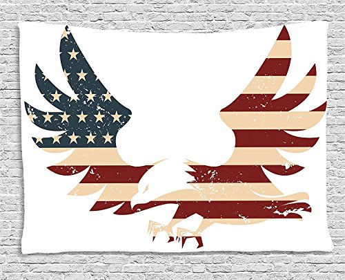 American Decor Tapestry, Patriotic Themed Home of Brave Land of Free USA Bold Eagle with Flag, Wall Hanging for Bedroom Living Room Dorm, 80WX60L Inches, Red Blue and White