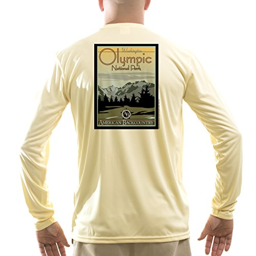 American Backcountry Men's Olympic National Park UPF 50+ Performance Long Sleeve T-shirtMedium Pale Yellow