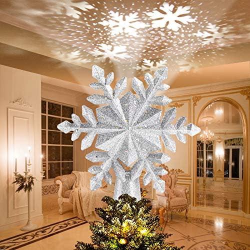 Avoalre Luci LED Albero di Natale con Fiocco di Neve Rotante Luci Proiettore LED Decorazione Albero di Natale Scintillio Stella Proiettore di Luce per Casa Ufficio Bar Hotel – Argento