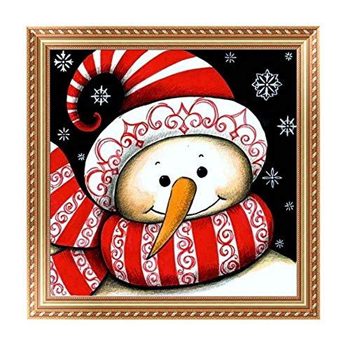 certainPL DIY 5D Diamond Painting by Number Kit, Rhinestone Embroidery Household Arts Craft for Adults, Partial Drill, 11.8x11.8inch, Snowman Lover (D) ()