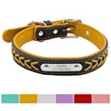 Leather Dog Collar - Vcalabashor™ Custom Leather Dog Collar / Braided Genuine Leather Name Plated Dog Collars for Small Medium Large / Personalized Engraved On Collar Pet ID Tags / Yellow & Black / XS S M L