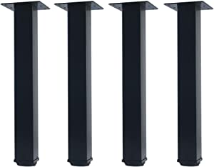 QLLY 12 inch Adjustable Metal Furniture Legs, Square Office Table Furniture Leg, Set of 4 (Black)