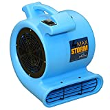Max Storm 1/2 HP 2550 CFM Durable Lightweight Air Mover Carpet Dryer Blower Floor Fan for Pro Janitorial, Blue