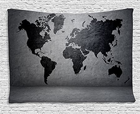 Dark grey tapestry black colored world map on concrete wall image dark grey tapestry black colored world map on concrete wall image urban structure grungy rough gumiabroncs Gallery