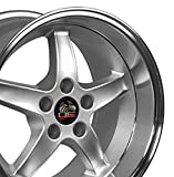 OE Wheels 17 Inch Fits Ford Mustang 1979-1993 4Lug Cobra R Style FR04B Silver with Machined Lip 17x10.5 Rim