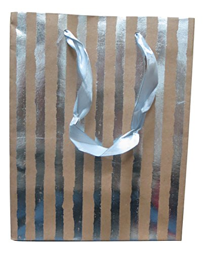 Style Design (TM) Dozen Gift Bags - 12 Beautiful Large Kraft Gift Bags for Presents, Parties or Any Occasion With Hot Stamp (Large, Silver)