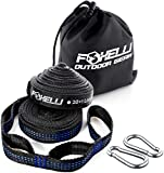Foxelli Hammock Straps XL – Camping Hammock Tree Straps Set with Carabiners & Bag, 20 feet Long Combined, 40 + 2 Loops, 2000 LBS No-Stretch Heavy Duty Straps for Hammock, Lightweight & Easy to Set Up