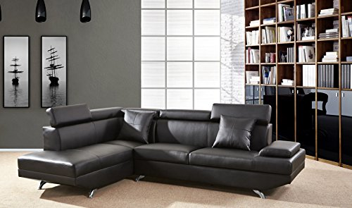 Golden Coast Furniture L Shape Leather Sectional Sets F2801A Black (Right Hand Facing) (Right Facing Chaise)