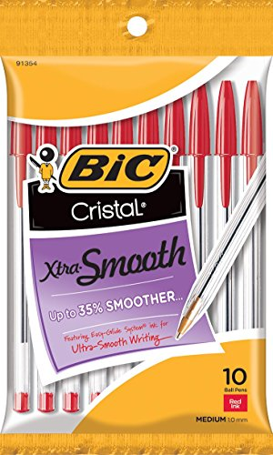 BIC Cristal Xtra Smooth Ball Pen, Medium - Nonrefillable Red Ink Pens Shopping Results