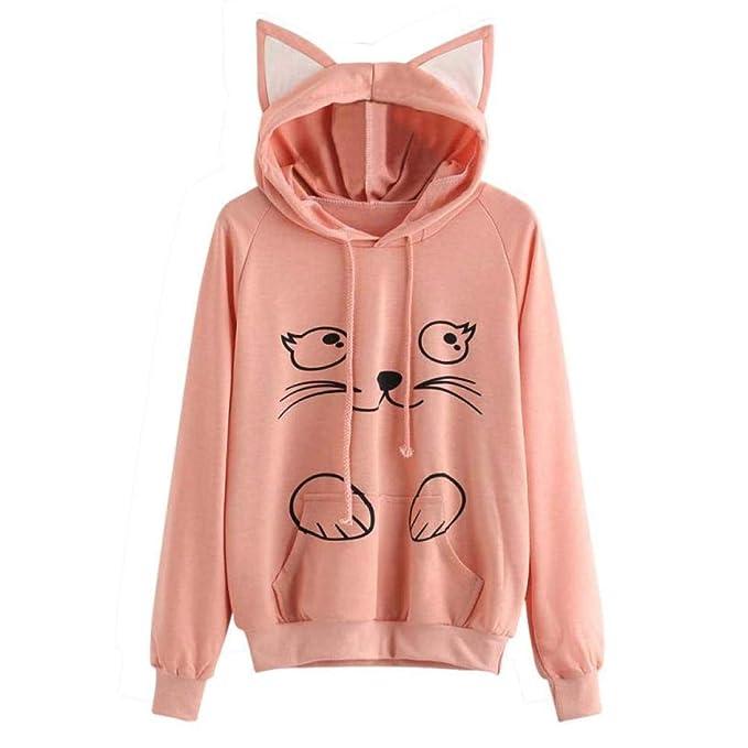 VJGOAL Moda Casual para Mujer Lindo Gato impresión Manga Larga Sudadera con Capucha con Cordones Jersey