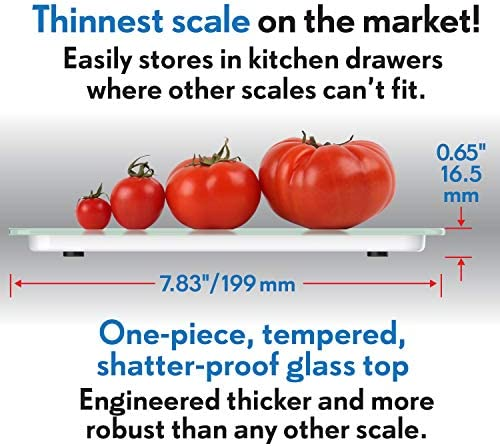 Mackie The Chef Food Scale Digital Kitchen Scale Weight Grams and Oz Easy Fast Simple Precision For Cooking Baking Meal Prep, Baking Conversion Table 3
