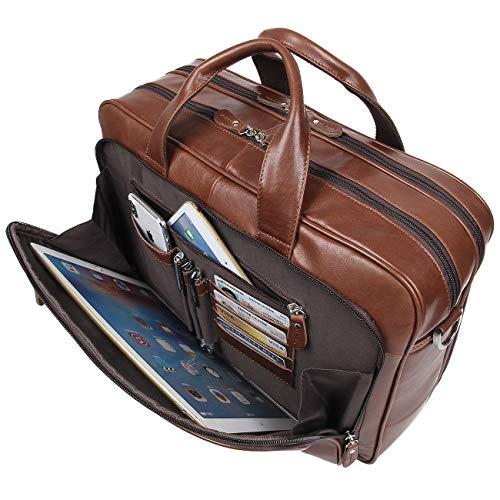 Augus Leather Briefcases for Men, Waterproof Travel Messenger Duffle Bags 17 Inch Laptop Bag (Brown)