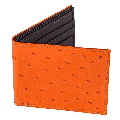 Men's Orange Ostrich Leather Billfold Slim Wallet, Brown Leather Interior