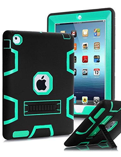 TIANLI iPad 2 Case,iPad 3 Case,iPad 4 Case Three Layer Protection Shockproof Protective with Kickstand iPad 2nd Generation Case/iPad 3rd Generation Case/iPad 4th Generation Case - Black Mint