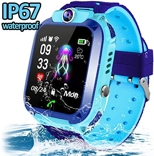 Kids Smart Watch-Waterproof Smart Watch Phone for Boys Girls-GPS Tracker Watch with SOS Two Way Call Touch Screen Game Alarm Clock Safety School Mode Students Learning Toys Birthday Gifts Blue