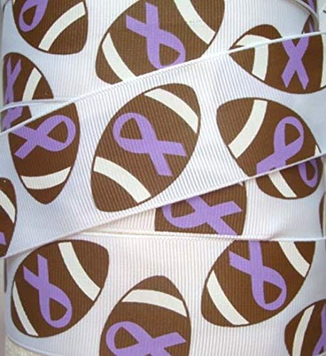 Rose Purple Ribbon Awareness - 1.5 Alzheimers Awareness Purple Football Ribbon Grosgrain Ribbon Cheer White 5YD Flowers, Arts & Crafts Gift Wrapping Wedding Decorations