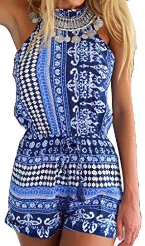 Generic Women's Printing Sexy Halter Slim Sleeveless Jumpsuit M Blue