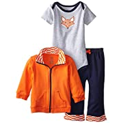 Yoga Sprout Baby-Boys 3 Piece Fox Track Jacket Bodysuit Pant Set, Fox, 6-9 Months