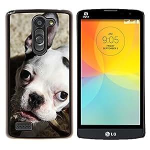 LECELL--Funda protectora / Cubierta / Piel For LG L Bello L Prime -- Bulldog Boston Terrier Puppy Dog --