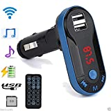 Bluetooth Wireless FM Transmitter MP4 Player Blue Handsfree Car Kit USB TF SD Remote by Hendont