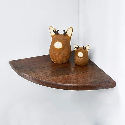 legno massello rovere naturale rotondo fine 1PCS galleggiante mensola  angolare da parete con mensola organizzatore scaffale angolare per bagno,  walnut
