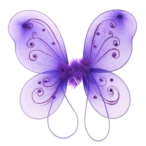 Homeford FNS004285PUR Organza Nylon Butterfly Wings with Glitters, 12' , Purple