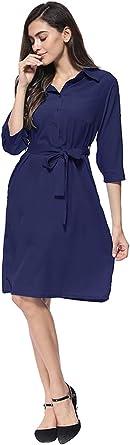 EFOFEI Damskahemd Rock Arbeit formelle Kleid einfarbigen Gürtel Dreiviertel-Ärmel Kleid Navy Blau L: Odzież