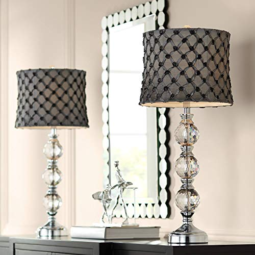 (Sarah Crystal Table Lamps Set of 2 with Lattice Rose Shades - Vienna Full Spectrum)