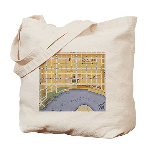 CafePress - French Quarter Map - Natural Canvas Tote Bag, Cloth Shopping - Map Shopping Quarter French