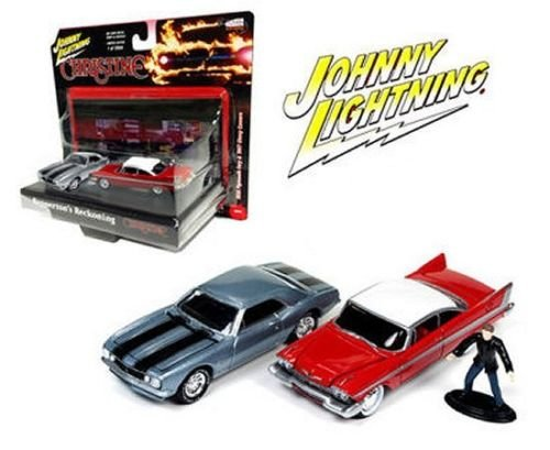 JOHNNY LIGHTNING 1/64 CHRISTINE 1958 PLYMOUTH FURY & 1967 CHEVY CAMARO JLCP7042