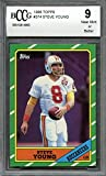 #4: 1986 topps #374 STEVE YOUNG san francisco 49ers rookie card BGS BCCG 9 Graded Card