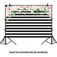 Allenjoy 7x5ft photography backdrops Black and white stripe watercolor pink flower floral banner Birthday party wedding bridal shower derocation photo studio booth background photocall