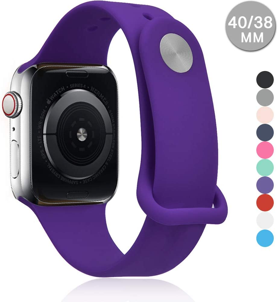 Compatible with Apple Watch Sports Band Series 4 (44mm, 40mm) Series 3 Series 2 Series 1 (42mm, 38mm) | Soft Silicone Replacement Band (Purple, 44mm/42mm)