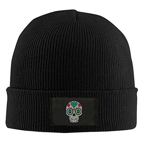 ONE-HEART HR HR Adult's Sugar Skull Diamond Elastic Knitted Beanie Cap Winter Warm Skull Hats ()