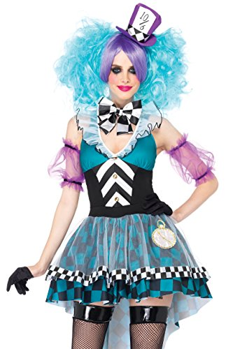 Leg Avenue Women's 4 Piece Manic Mad Hatter Costume, Black/Light Blue, Medium -