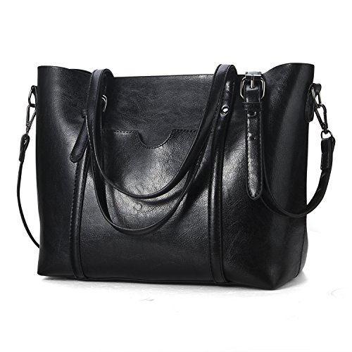 Celsino Women's Top Handle Satchel Purse and Handbags Bag Daily Work Shoulder Tote Bag (Black) Double Top Zip Shoulder Bag