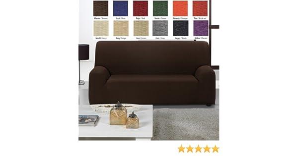 Funda de sofá elástica Túnez, color Naranja, 3 plazas