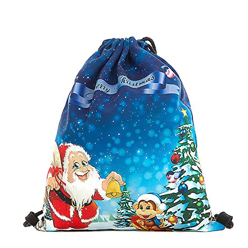 ✈ HYIRI Big Christmas Candy Gift Bag Claus Snowman Printed Bags Backpack ()
