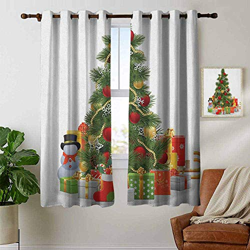 petpany Blackout Curtains Christmas,Xmas Tree with Vivid Balls and Snowflakes New Year Celebration Theme Art, Red Green Yellow,Insulating Room Darkening Blackout Drapes for Bedroom 42