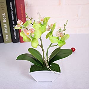 LBZEZR Artificial Butterfly Orchid Flower leaves Wedding Fake Bonsai Home Decor 35