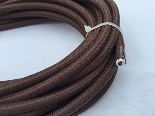Brown Round 18/2 Antique Cotton Covered Cord -Cloth Electrical Wire - 25' 18 Gauge Vintage Style Cord - by Industrial Rewind