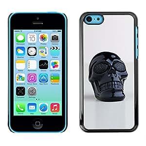 iPhone 5C , JackGot - Impreso colorido protector duro espalda Funda piel de Shell (3D Impreso plástico Cráneo Muerte Negro)